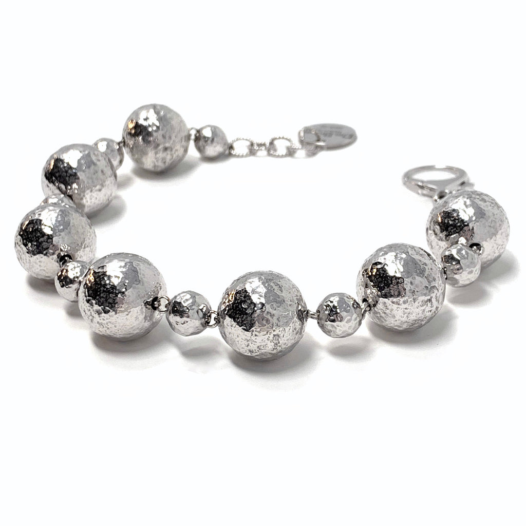 Bracelet Sofia Hammered Beads 8-16mm Rhodium