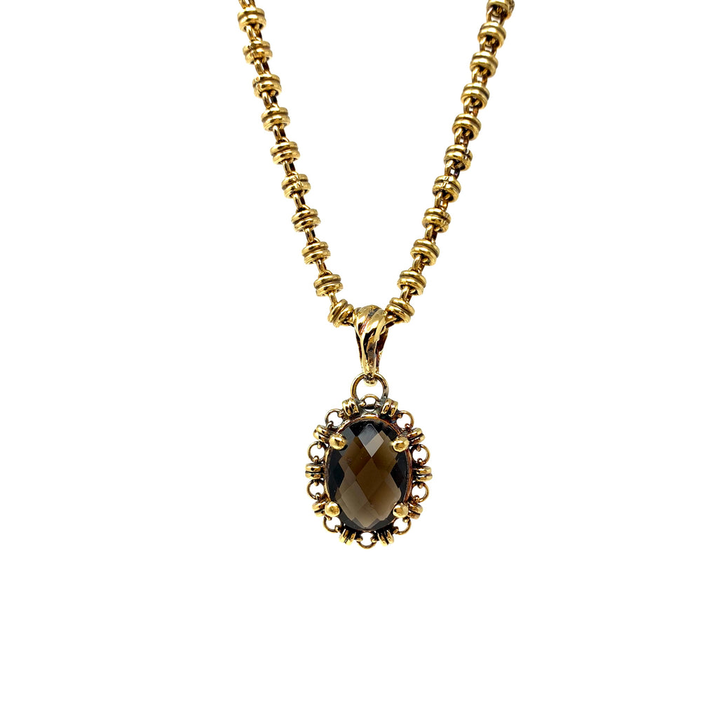 Pendant Aperitivo 14x10mm Smoky Quartz Briolette Antique Gold