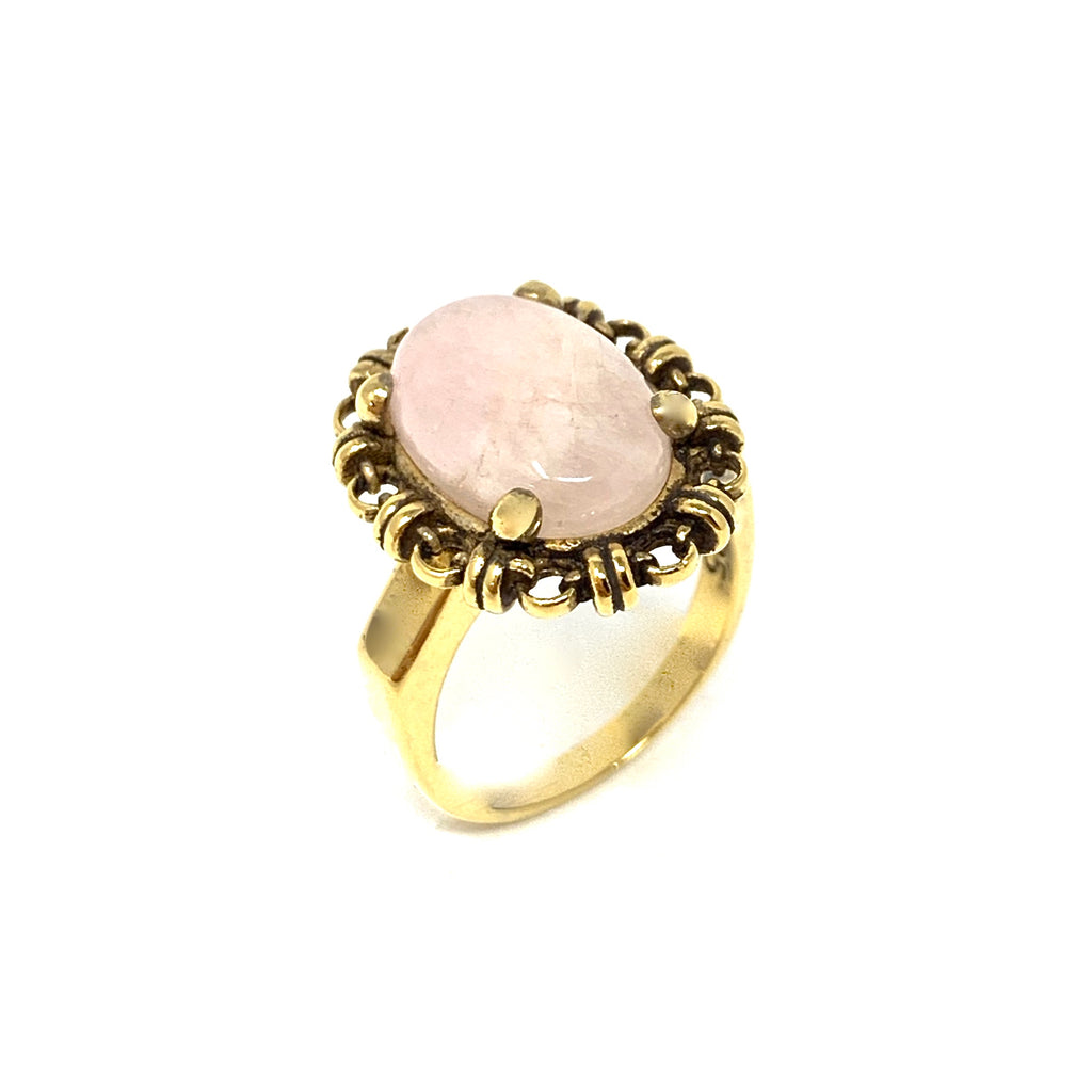 Ring Aperitivo 14x10mm Morganite Cabochon Antique Gold