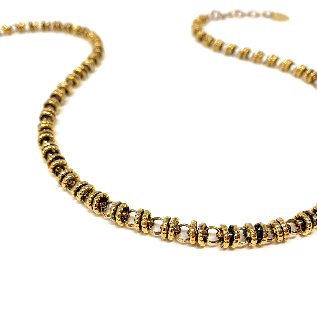 Necklace Etruscan Links 7mm B Antique Gold
