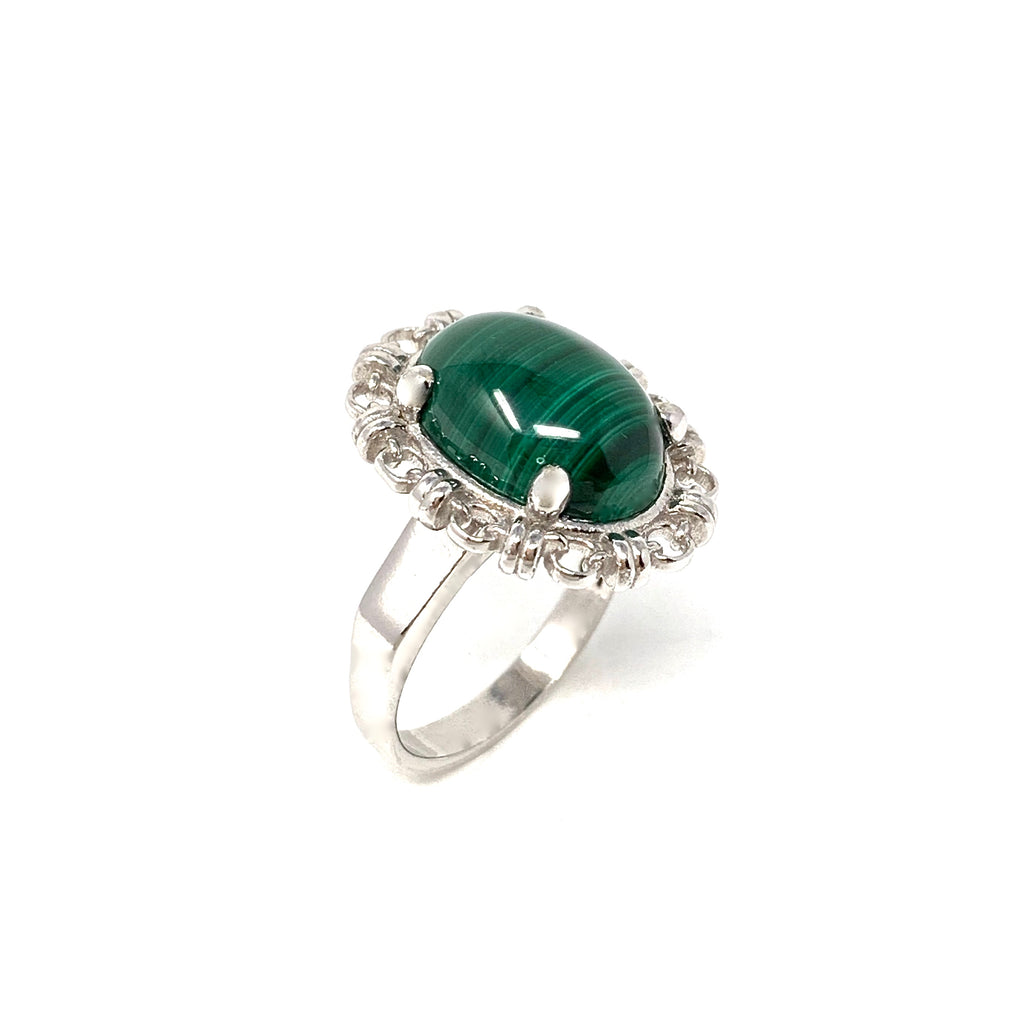 Ring Aperitivo 14x10mm Malachite Cabochon Rhodium