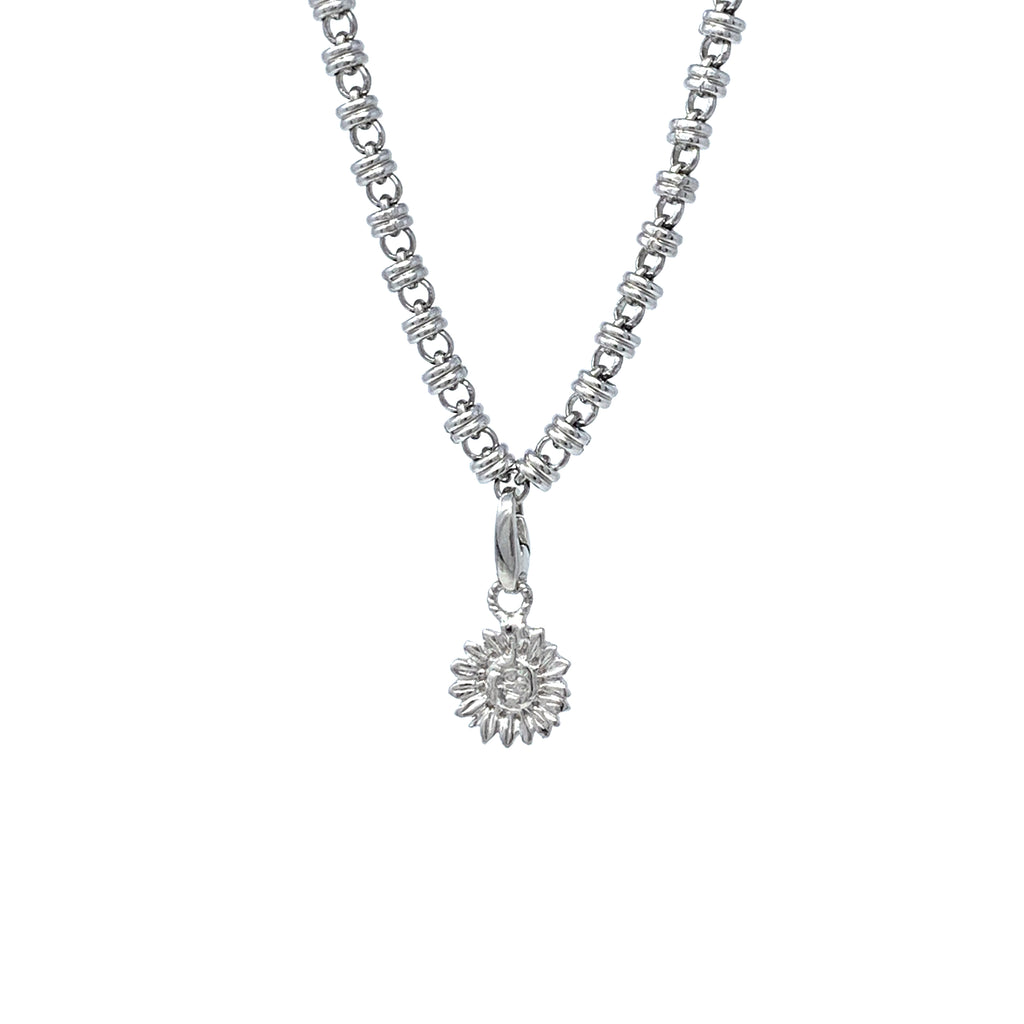Small Sunflower Charm (Rhodium)