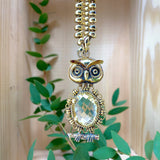 Pendant Owl 15x20mm Citrine Briolette Antique Gold