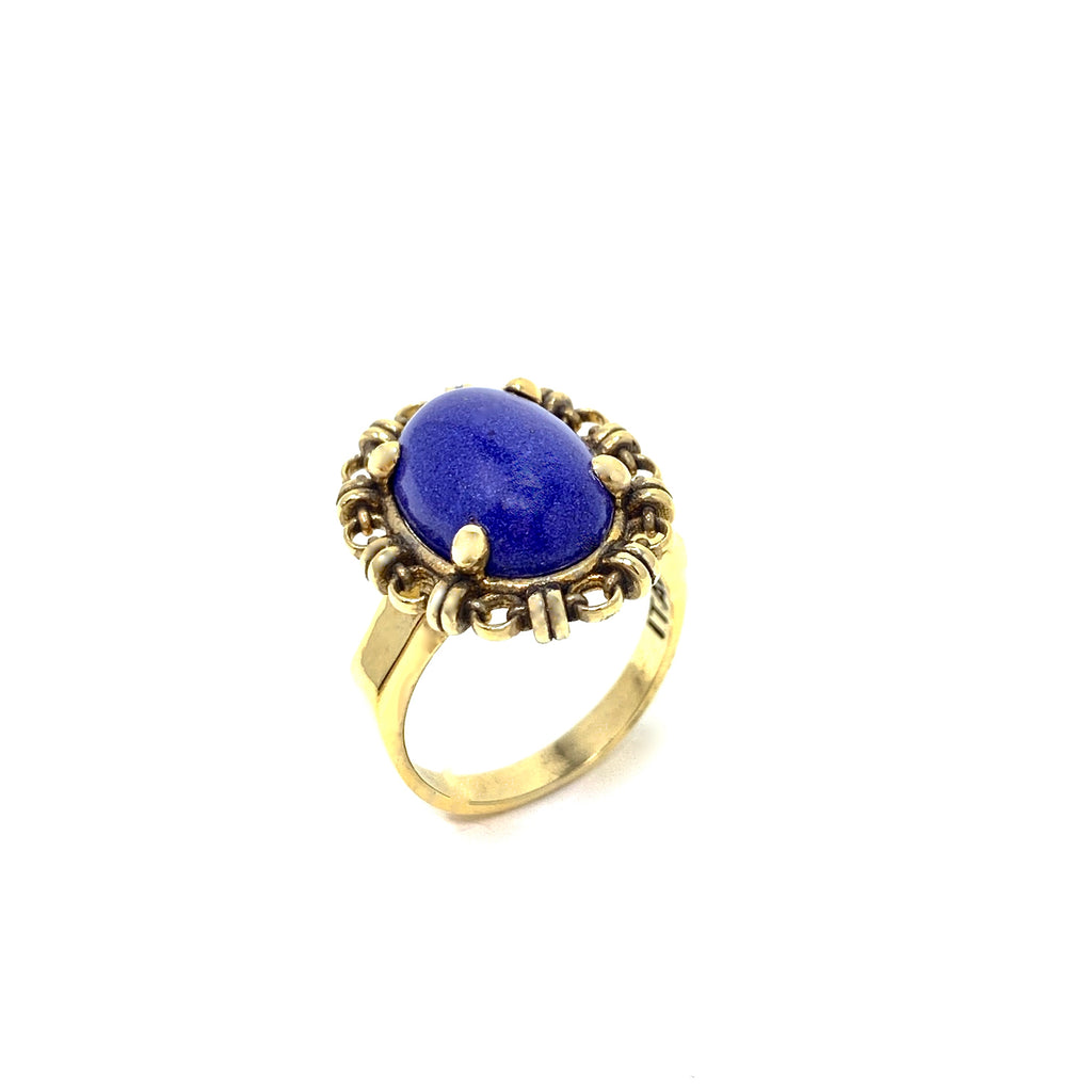Ring Aperitivo 14x10mm Lapis Cabochon Antique Gold