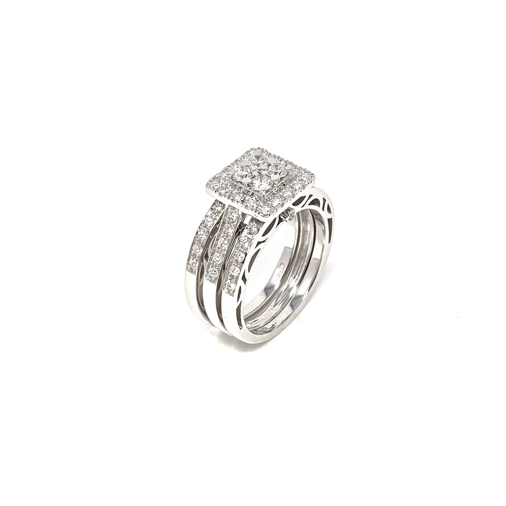 Rings 18K White Gold Stacking Diamonds 1.25ct