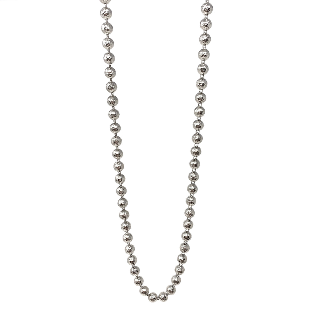 Necklace Hammered Beads B Rhodium