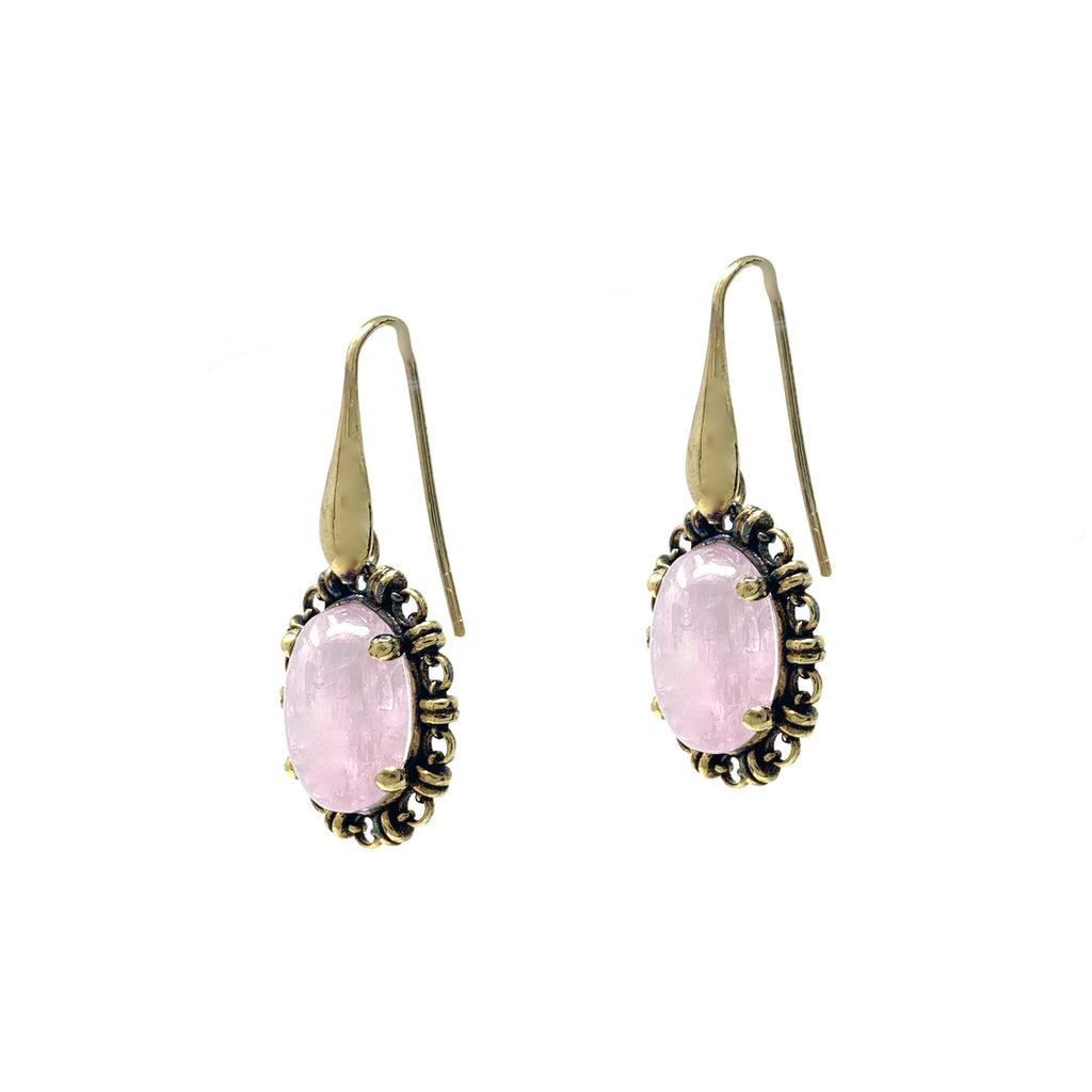 Earrings Aperitivo 14x10mm Kunzite Cabochon Antique Gold