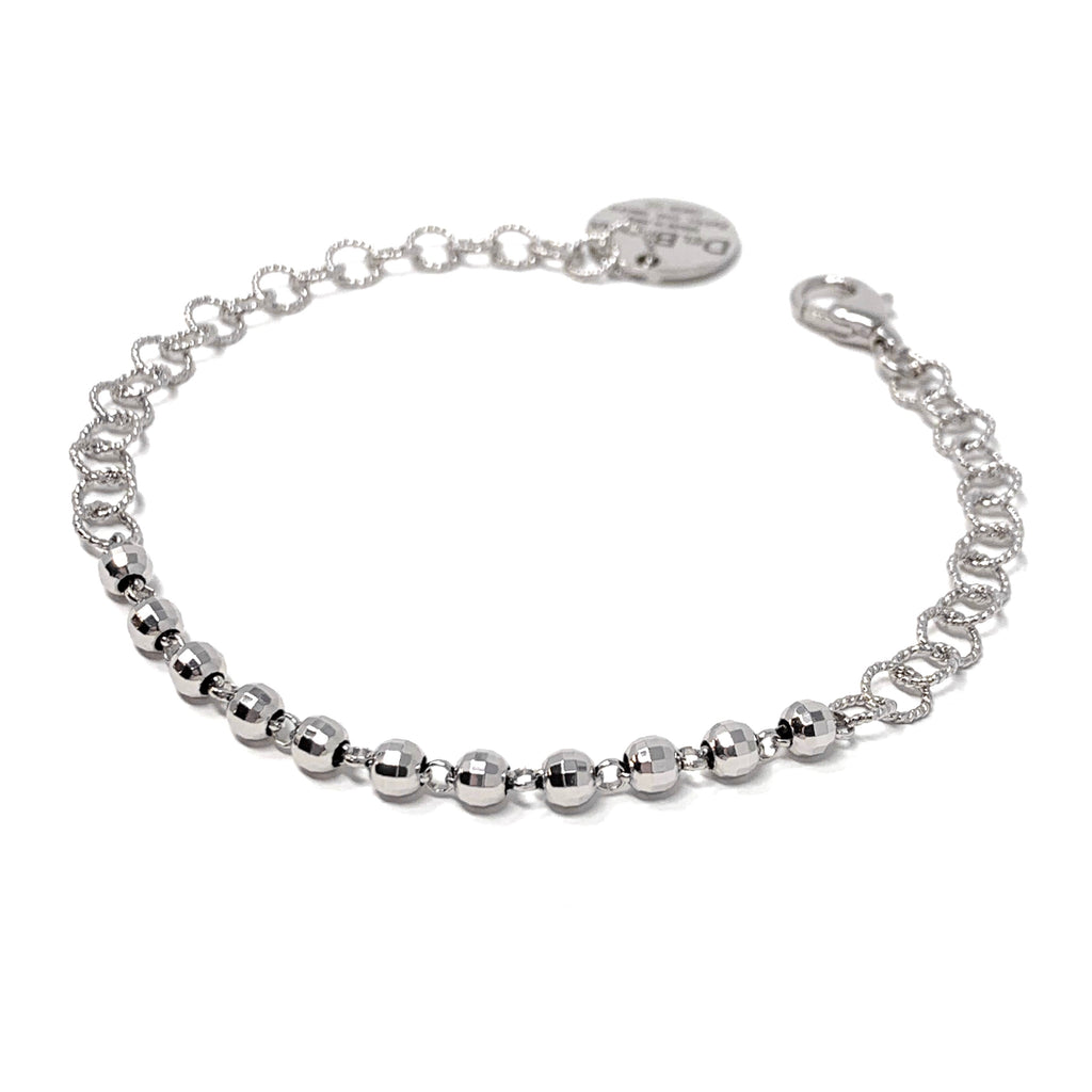 Bracelet Wispy 5mm Diamond Beads Rhodium