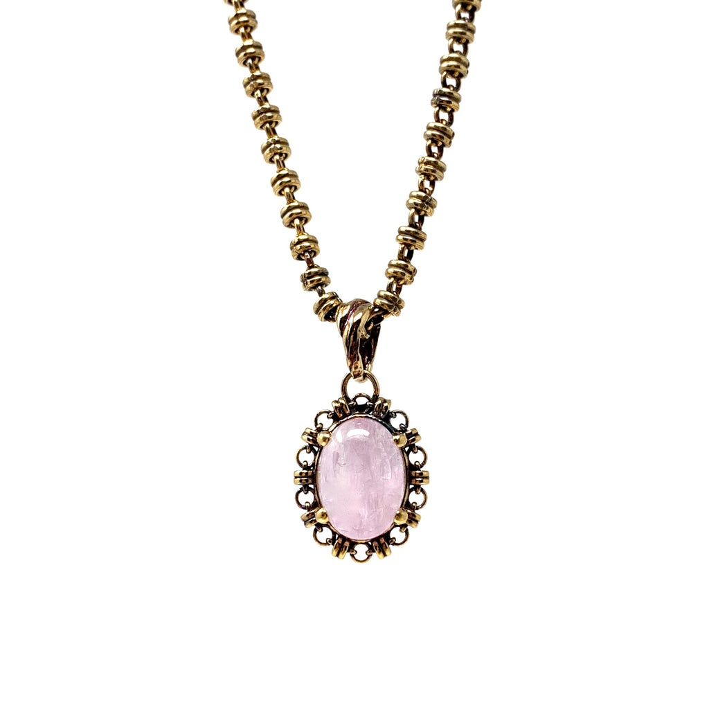 Pendant Aperitivo 14x10mm Kunzite Cabochon Antique Gold
