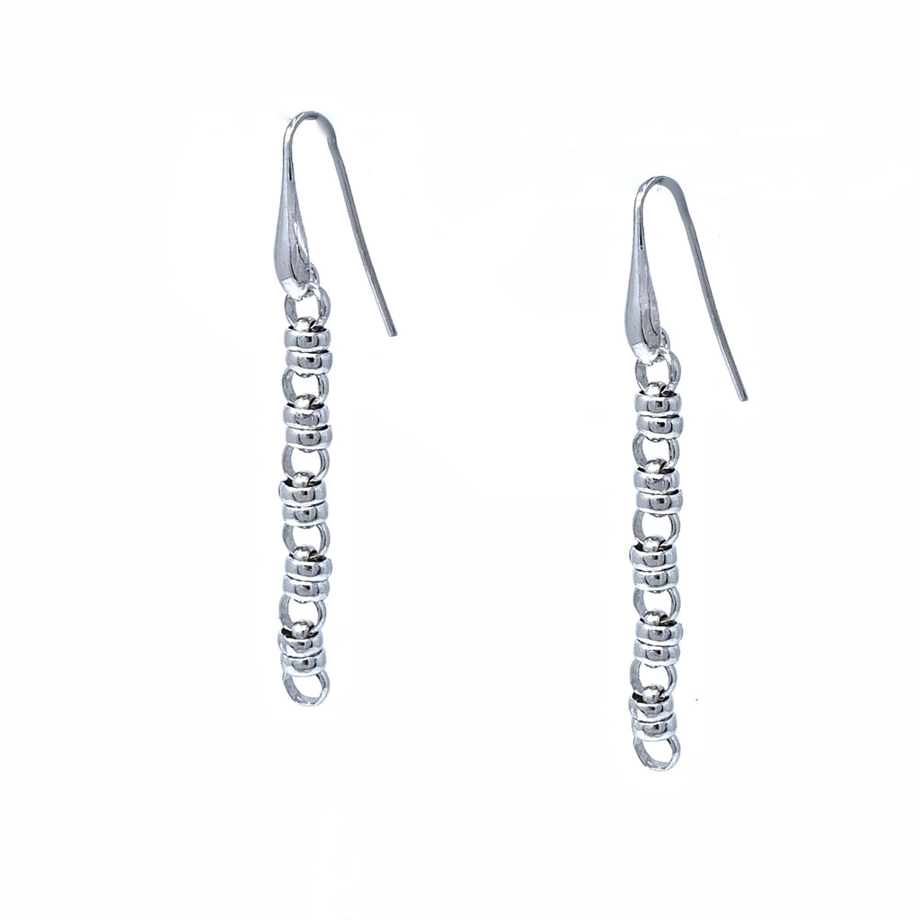Links 5mm Earrings in Silver, Long