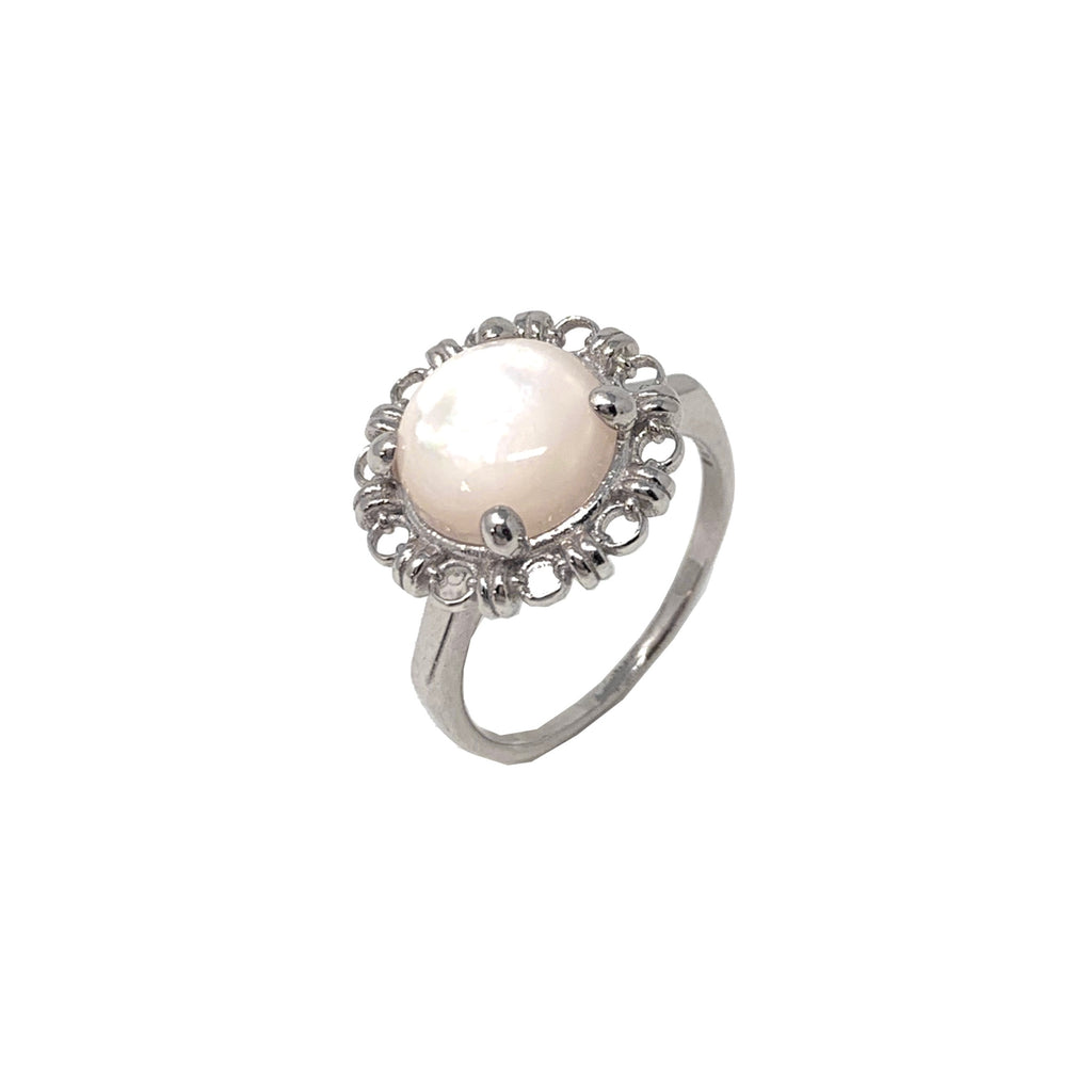 Ring Filary 10mm Mother of Pearl Cabochon Rhodium