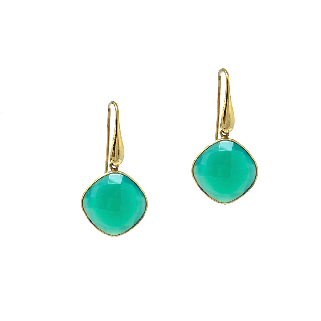 Earrings Dolce Vita Green Agate Square Antique Gold