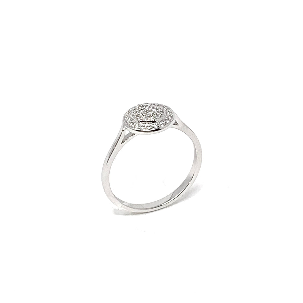 Ring 18K White Gold Diamonds Pavé Round Double 0.18ct