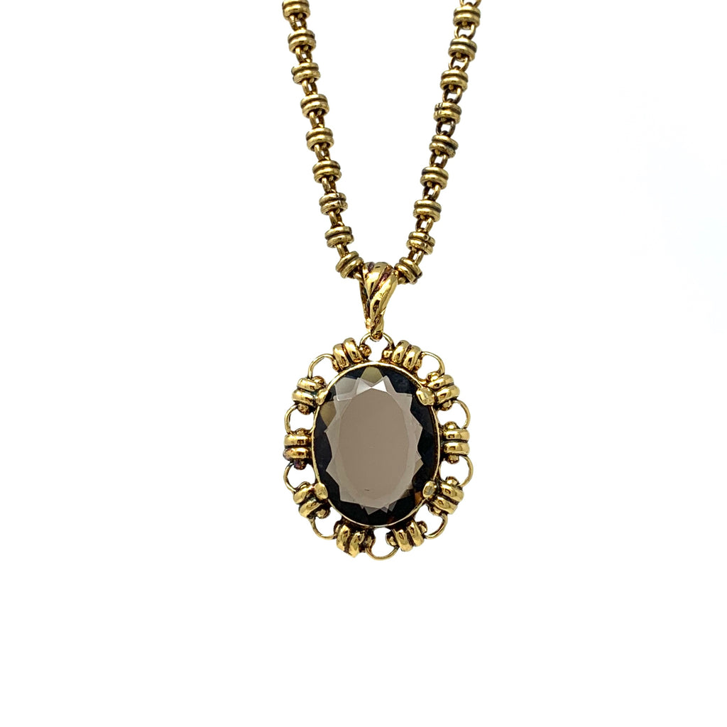 Pendant Megani 20x15mm Smoky Quartz Antique Gold
