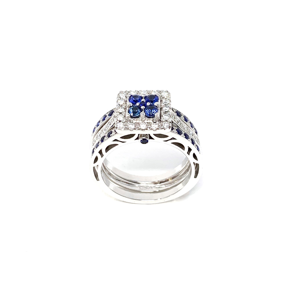 Rings 18K White Gold Stacking Blue Sapphires 1.09ct Diamonds 0.35ct