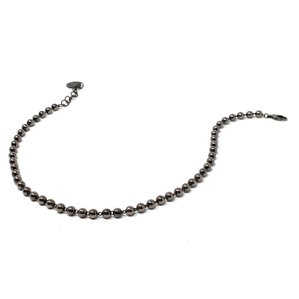 Necklace Beads 5mm A Ruthenium