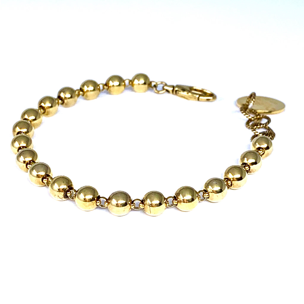Bracelet Beads 5mm Antique Gold
