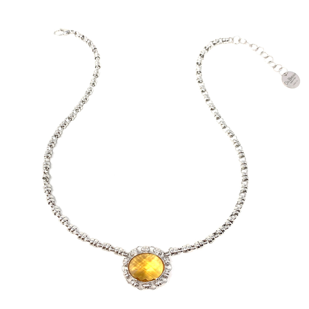 Necklace Megani 20x15mm Citrine Rhodium