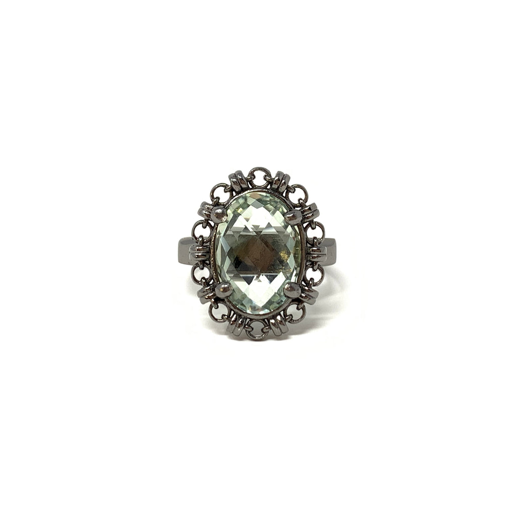 Ring Aperitivo 14x10mm Green Amethyst Briolette Black Rhodium