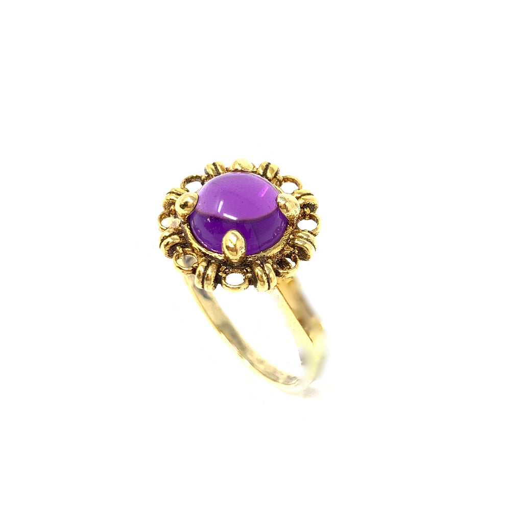 Ring Filary 8mm Amethyst Cabochon Antique Gold