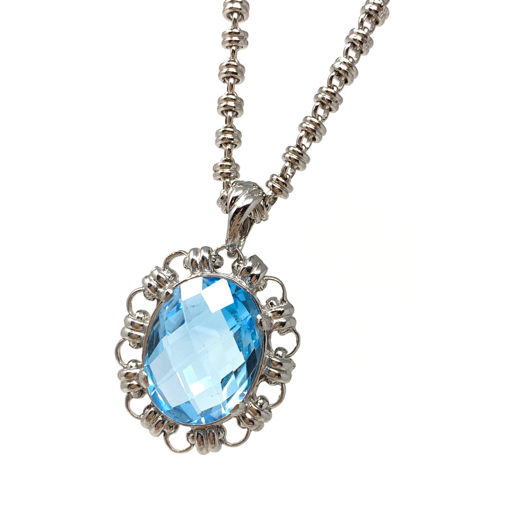 Megani Pendant in Silver with Blue Topaz