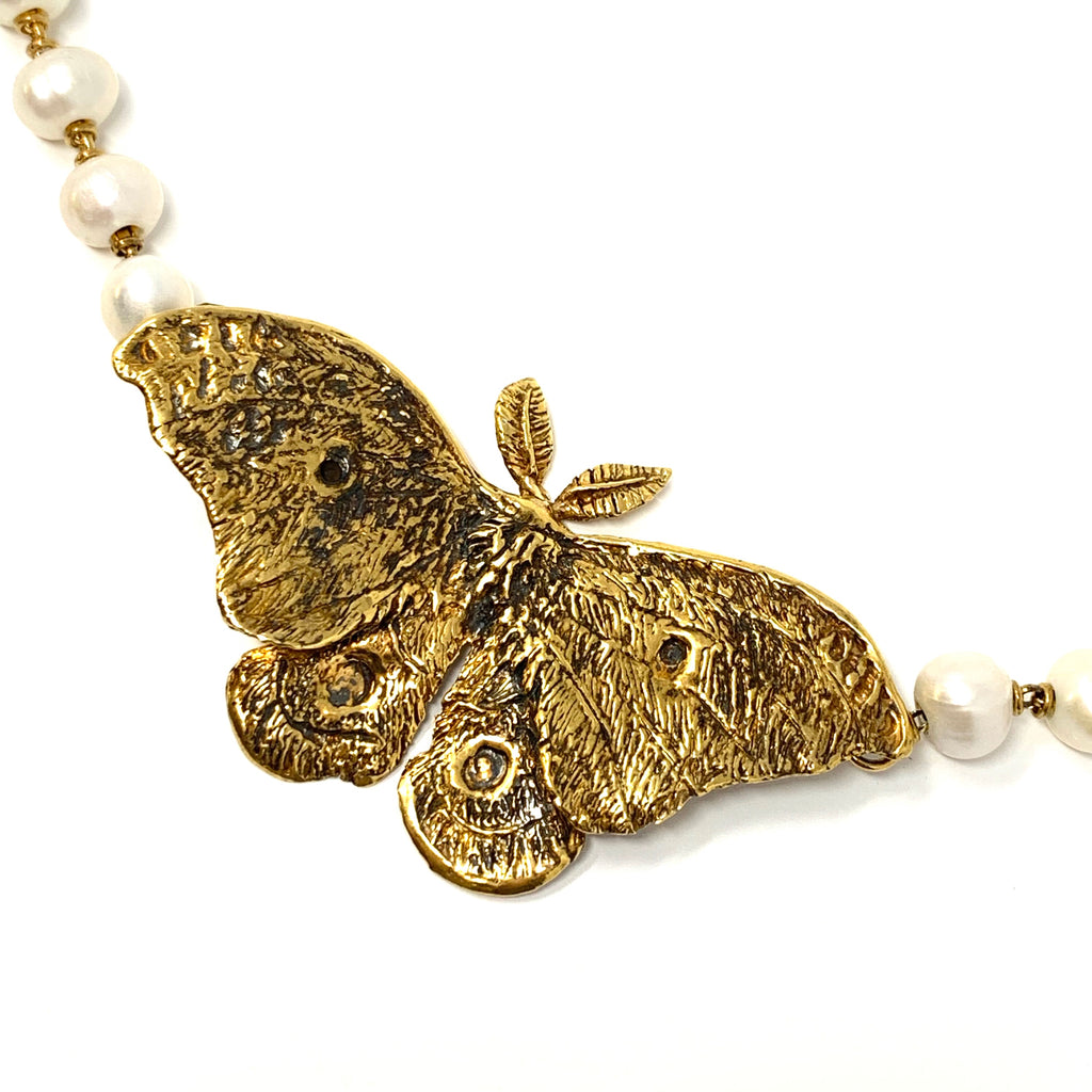 Necklace Night Butterfly Freshwater Pearls A Gold
