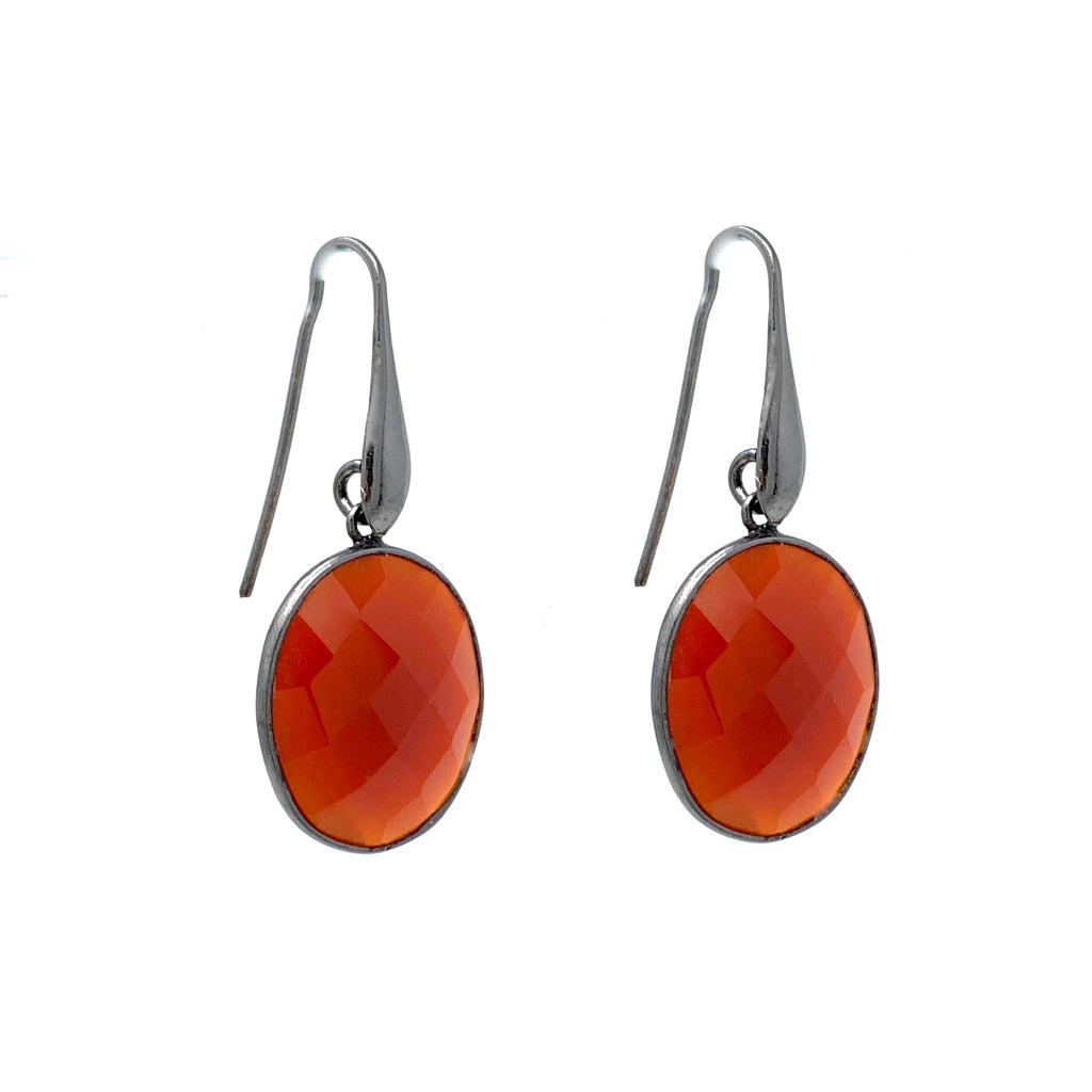 Earrings Dolce Vita Carnelian Oval Ruthenium