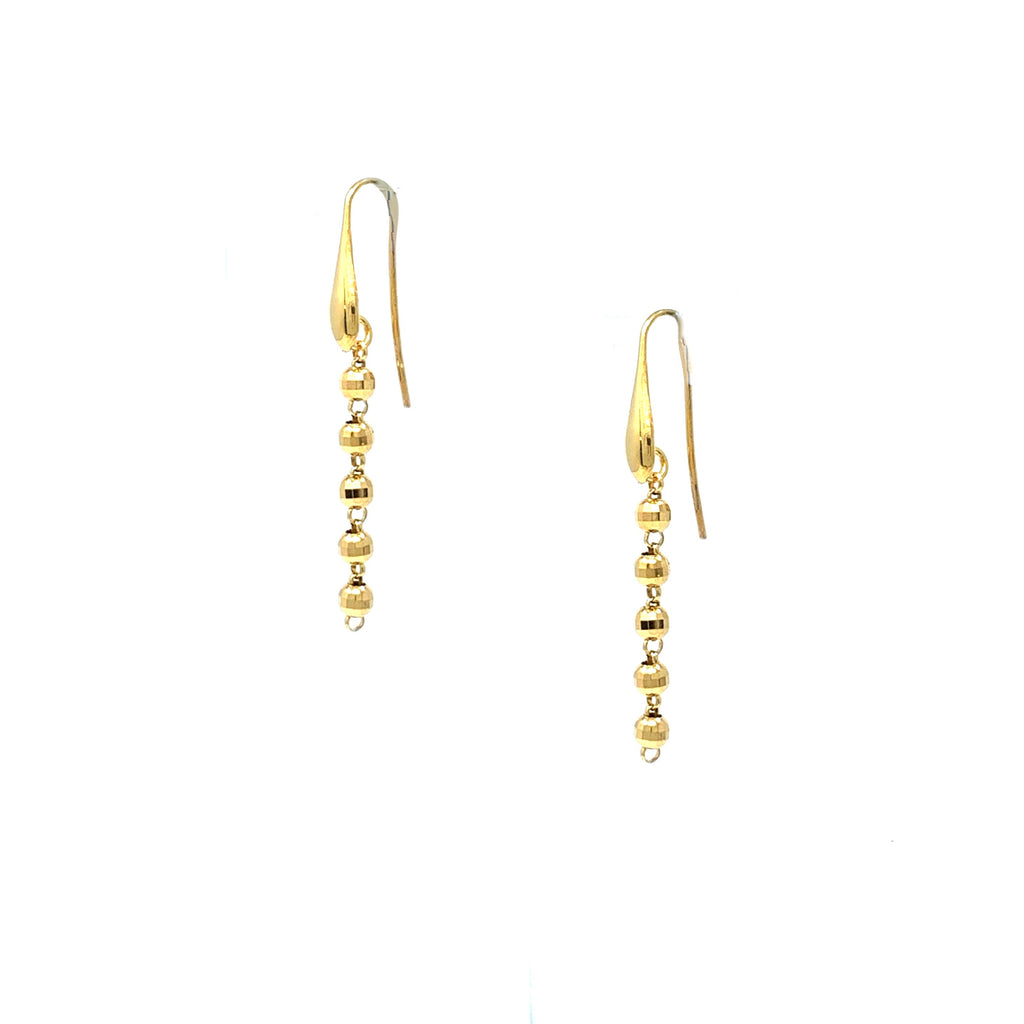 Earrings Diamond Beads 3mm x5 Gold