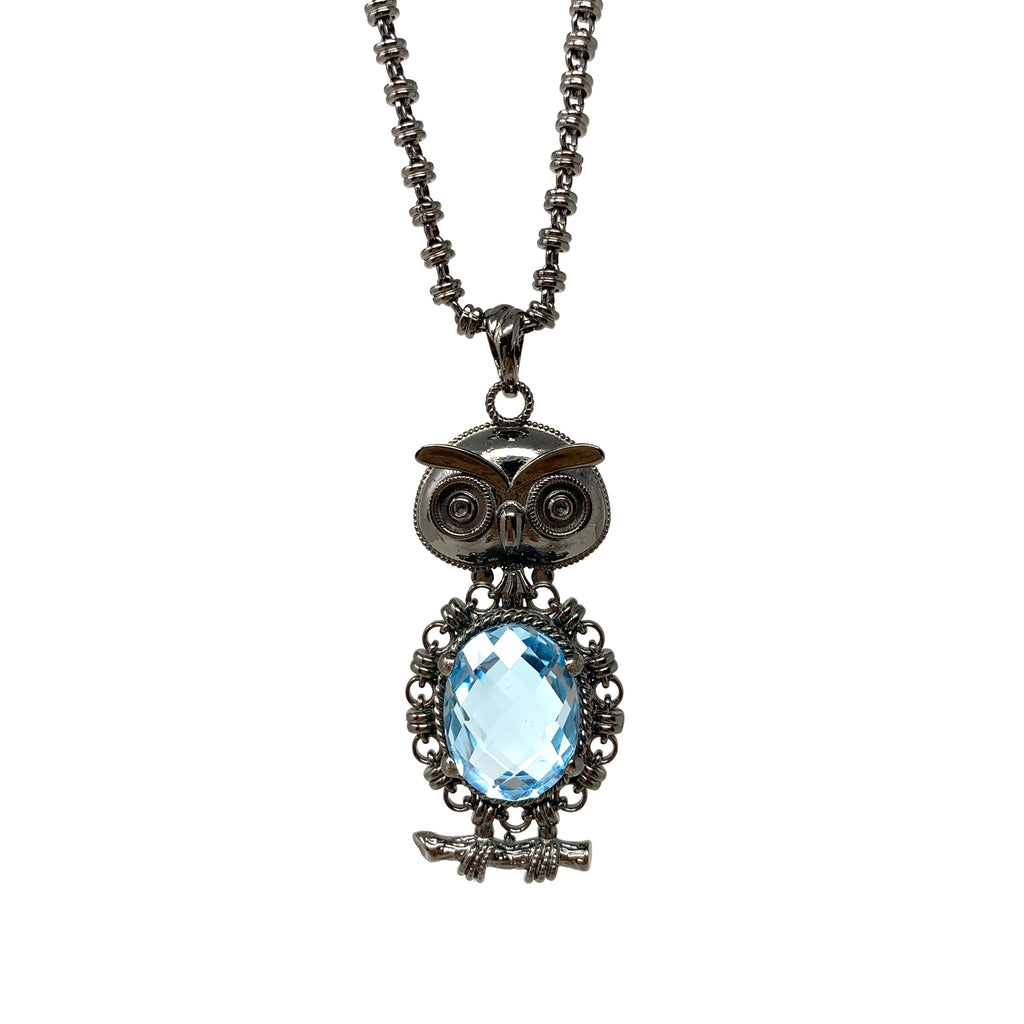 Owl Pendant in Black with Blue Topaz
