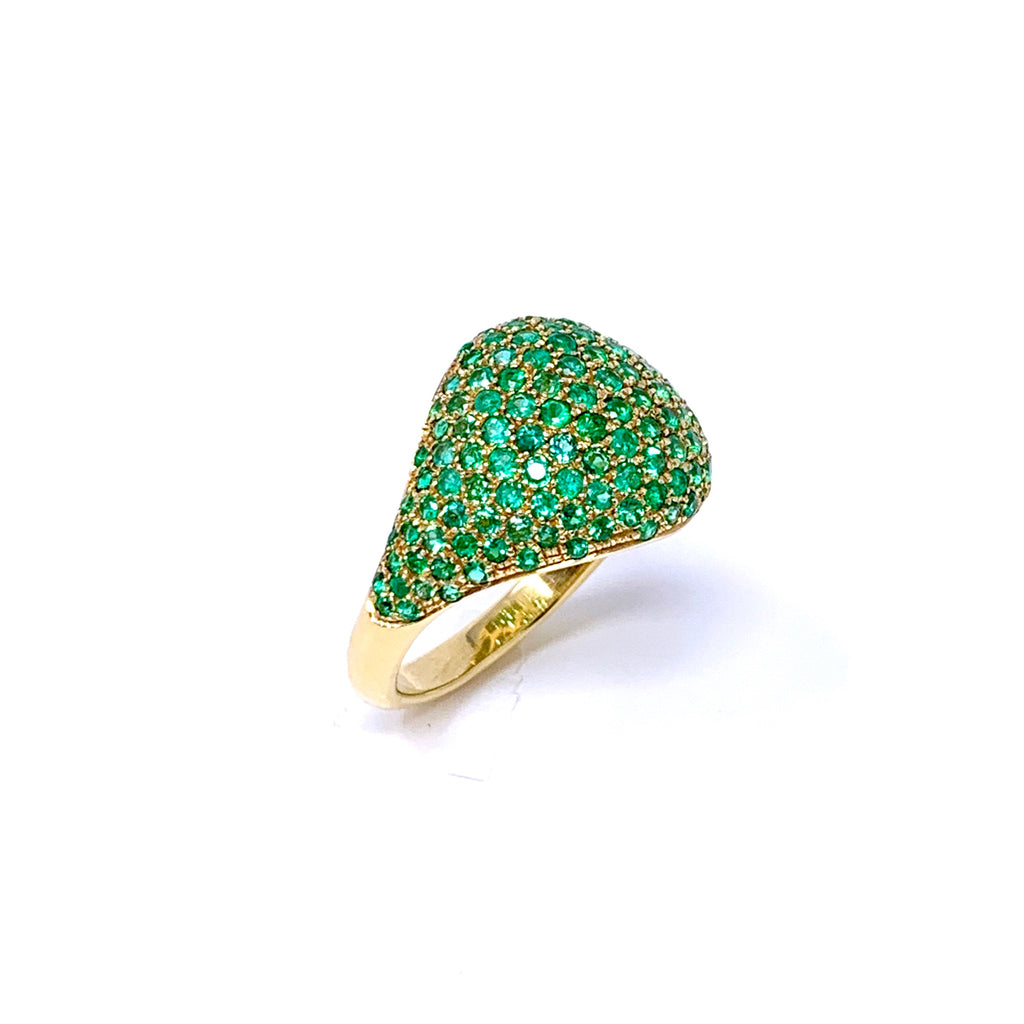 Ring 18K Yellow Gold Pave Emeralds 2.10ct