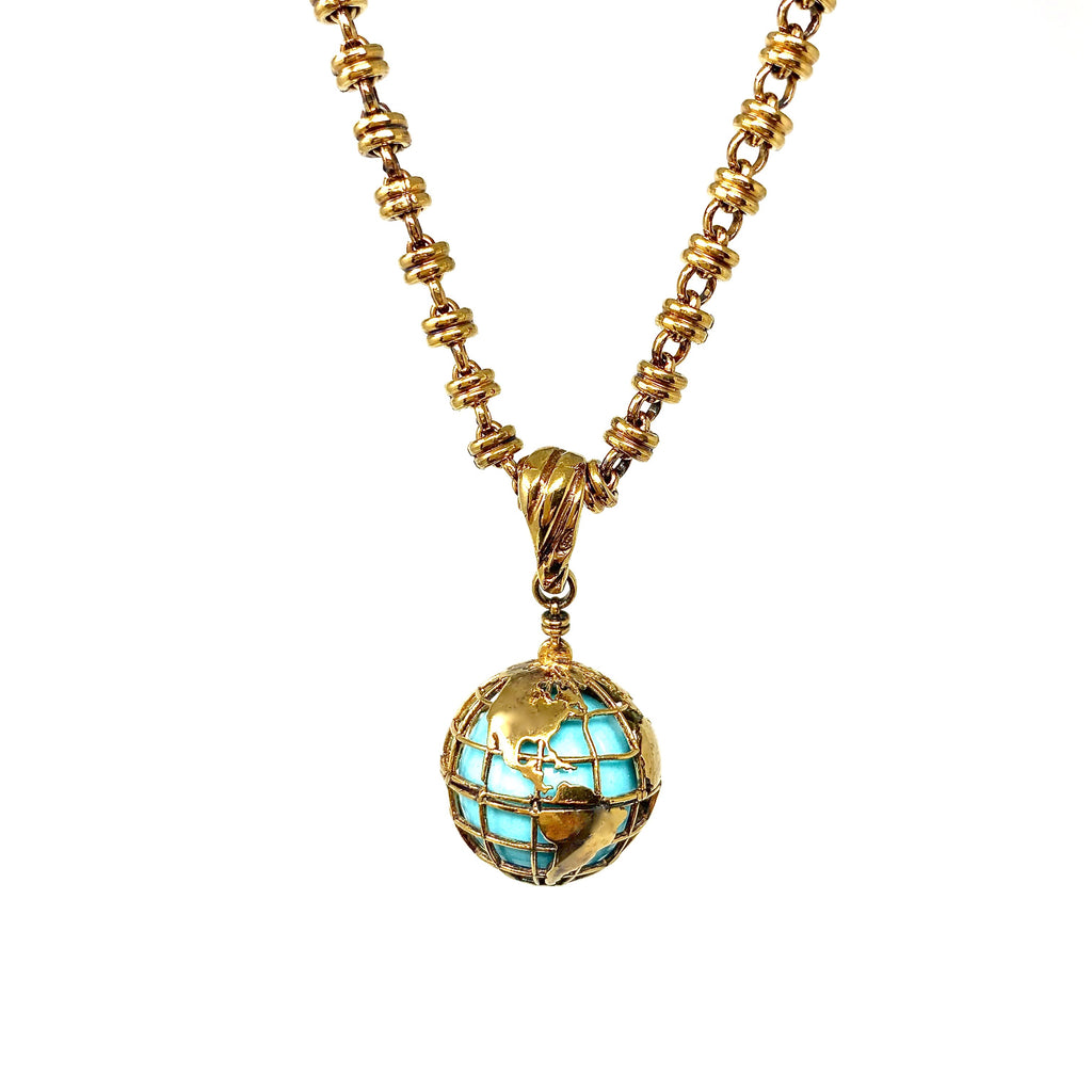 Pendant Globe Small Turquoise Antique Gold