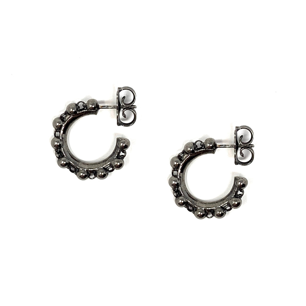 Earrings Beads 3mm Hoops Ruthenium