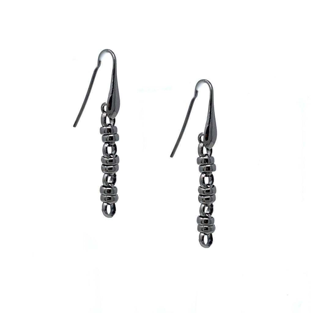 Earrings Links 5mm x3 Black Rhodium