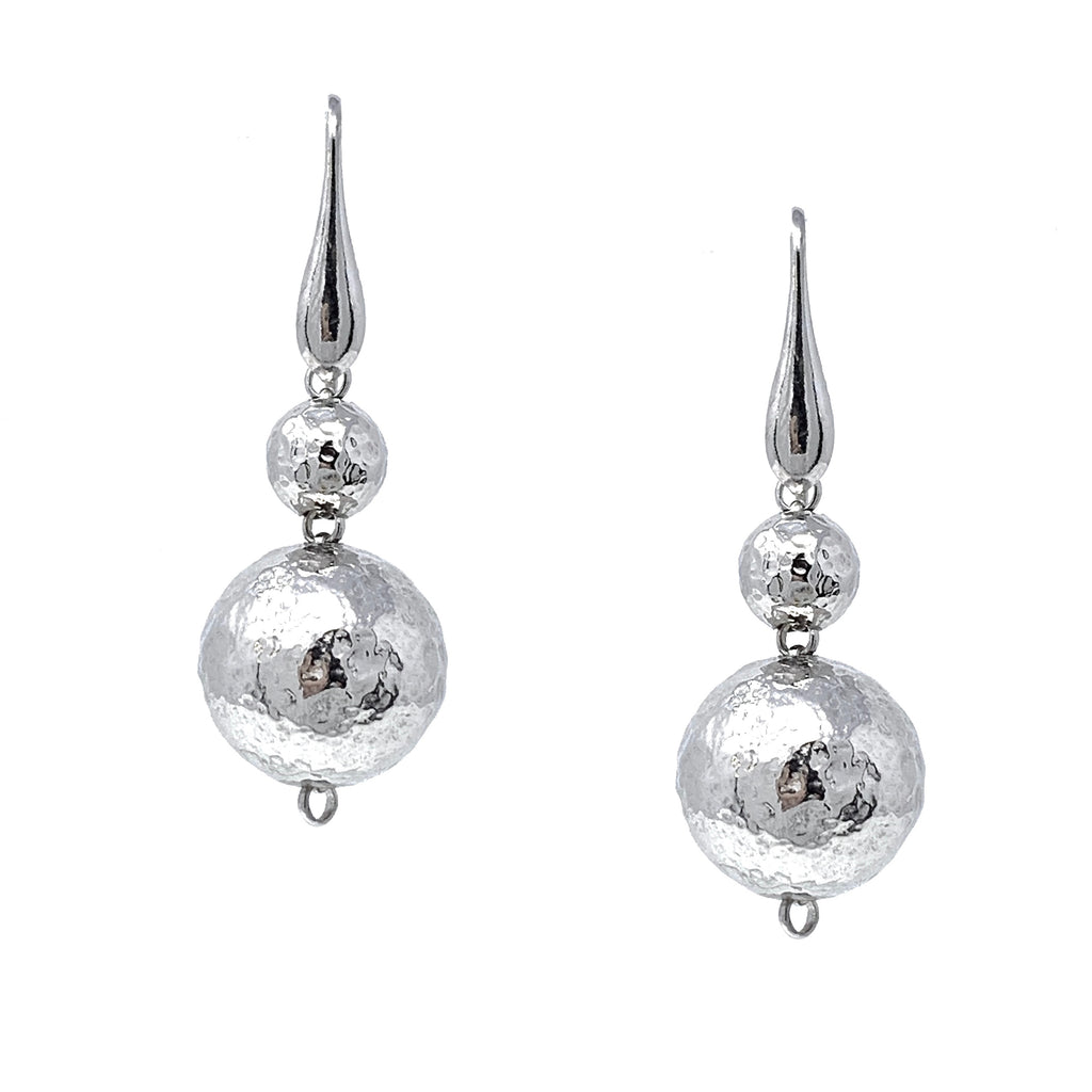 Earrings Sofia Hammered Beads 8-16mm x2 Rhodium