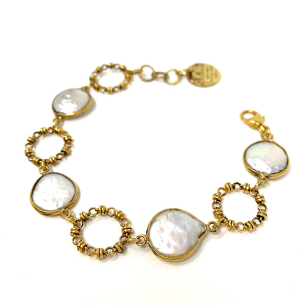 Bracelet Botticelli x4 Baroque Pearls x4 Antique Gold