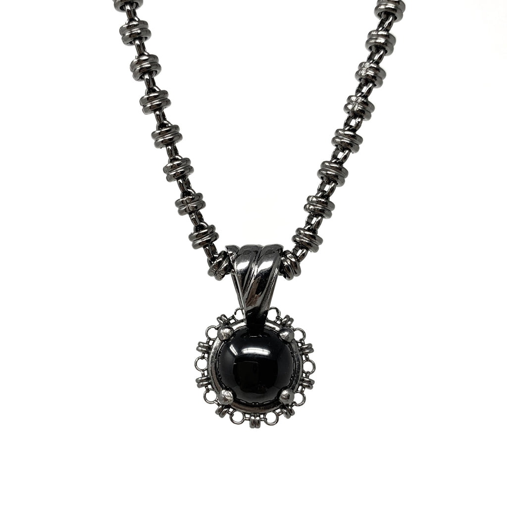 Pendant Filary 10mm Onyx Cabochon Ruthenium