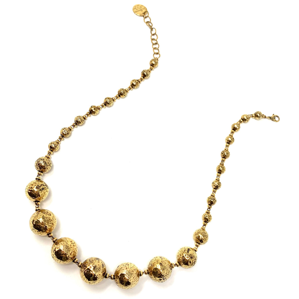 Necklace Sofia Hammered Beads 8-16mm and Ciambelle Antique Gold
