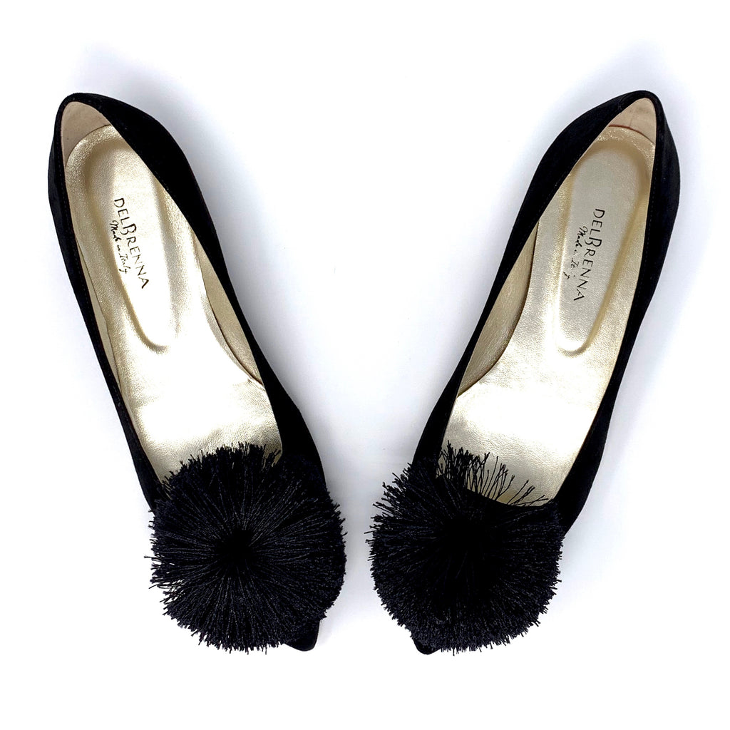 Pointed Toe Pompom Flats (Black Suede)