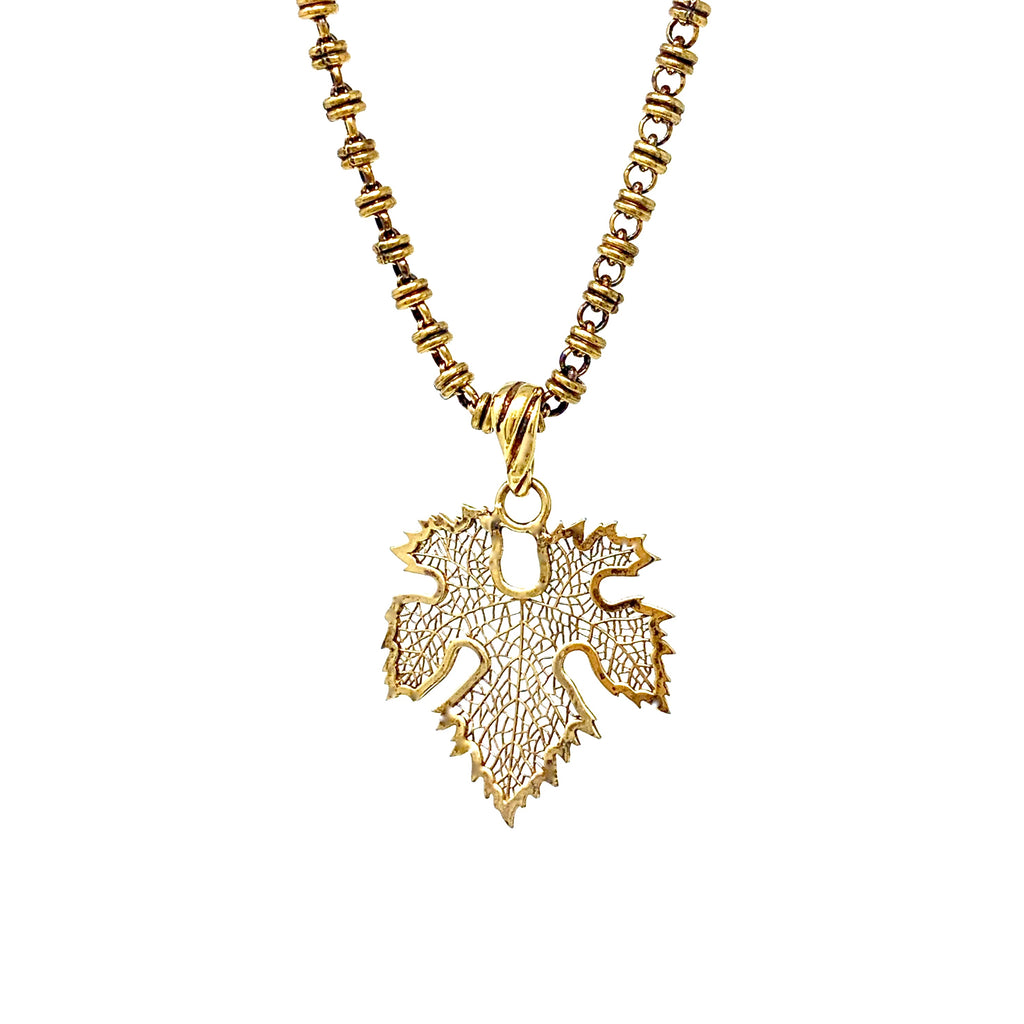 Pendant Sangiovese Leaf Antique Gold