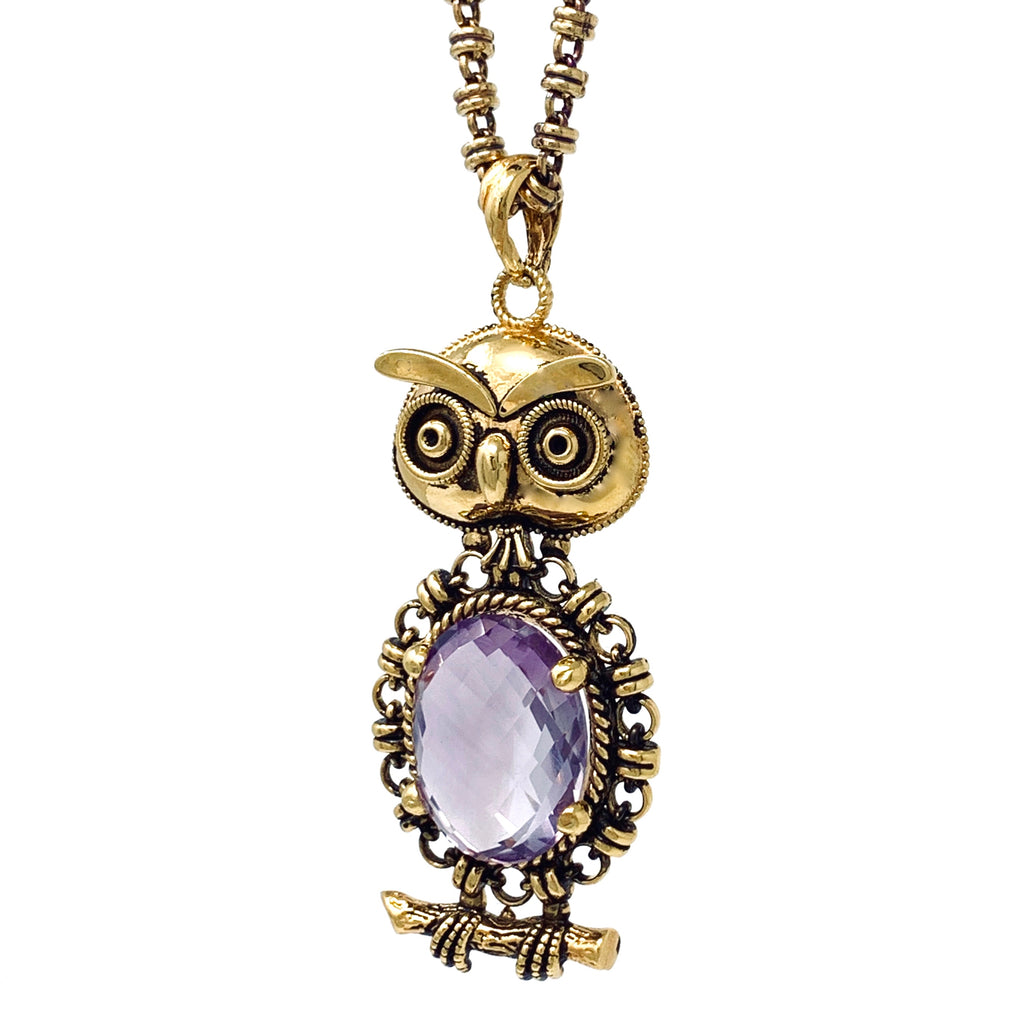 Pendant Owl 15x20mm Amethyst Briolette Antique Gold