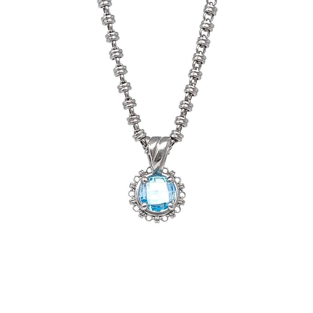Pendant Filary 10mm Blue Topaz Briolette Rhodium