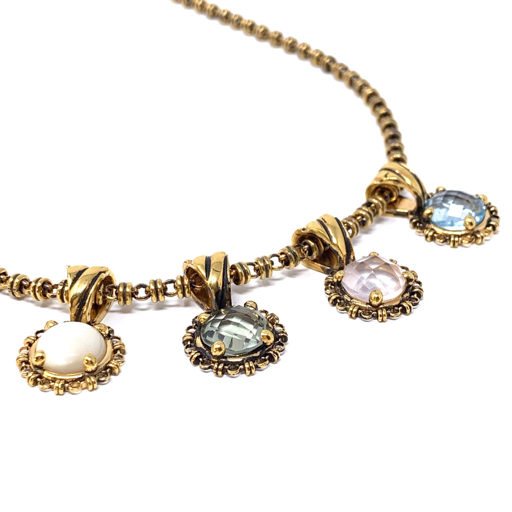 Pendant Filary 10mm Blue Topaz Briolette Antique Gold