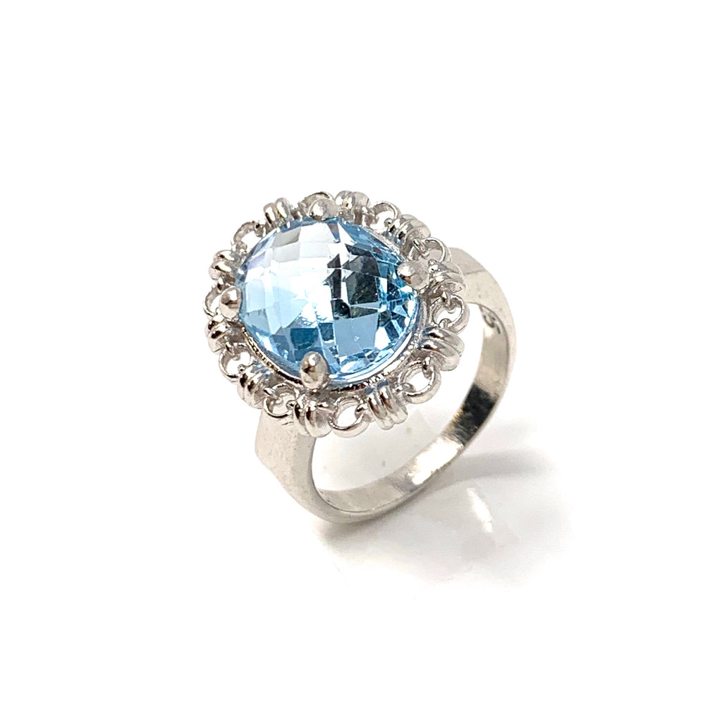 Blue Topaz Aperitivo Ring (10x14mm - Rhodium)
