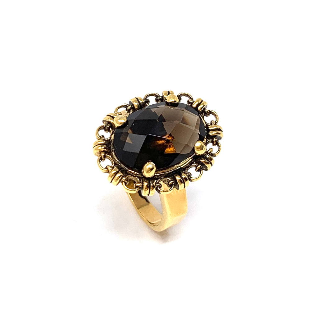 Ring Aperitivo 14x10mm Smoky Quartz Briolette Antique Gold