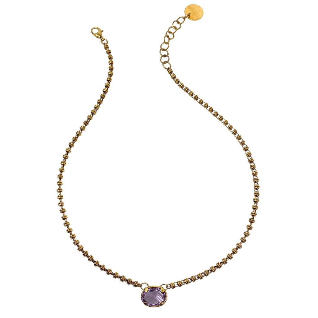 Volare Necklace Amethyst Antique Gold