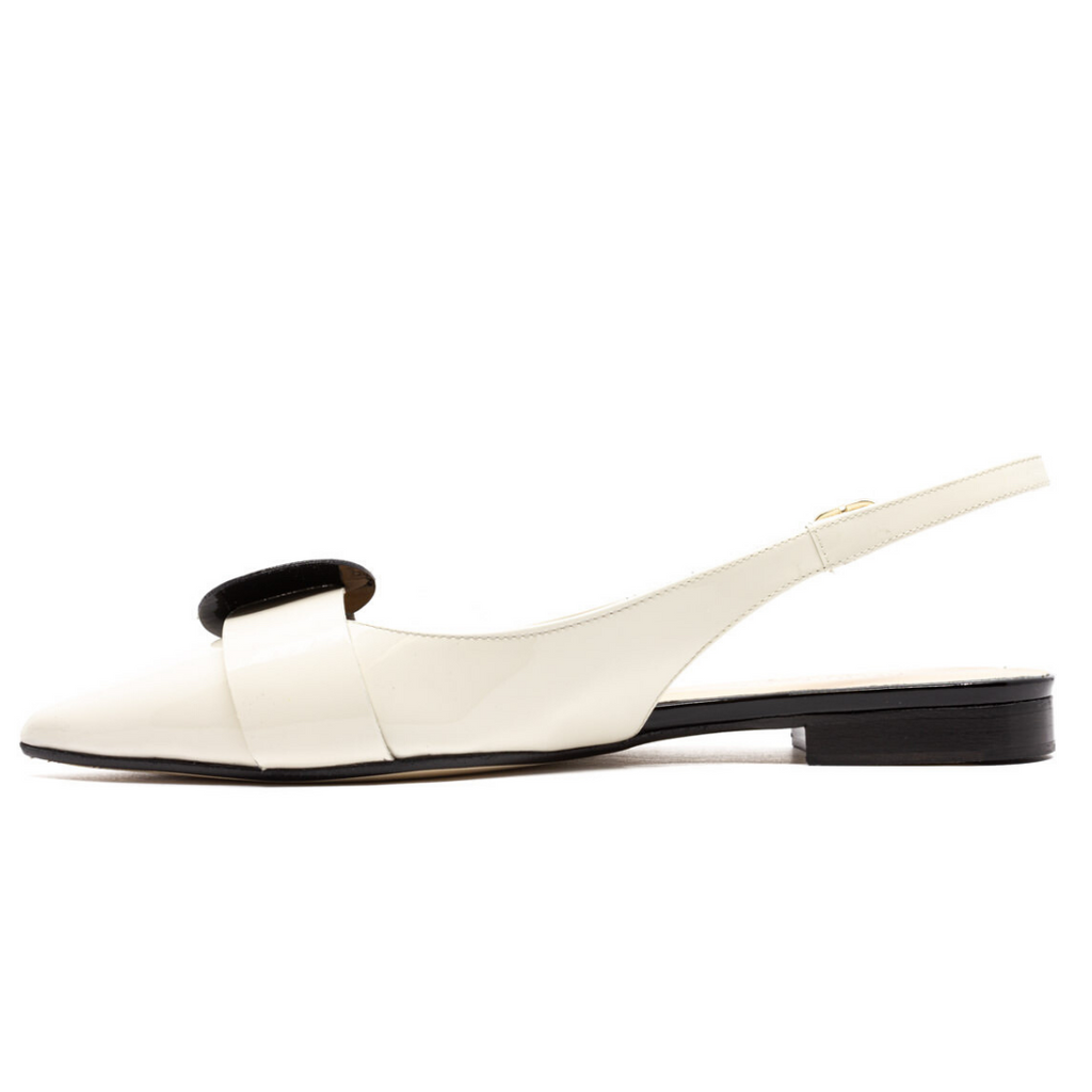 Black & White Pointed Toe Slingback Patent Leather Flats