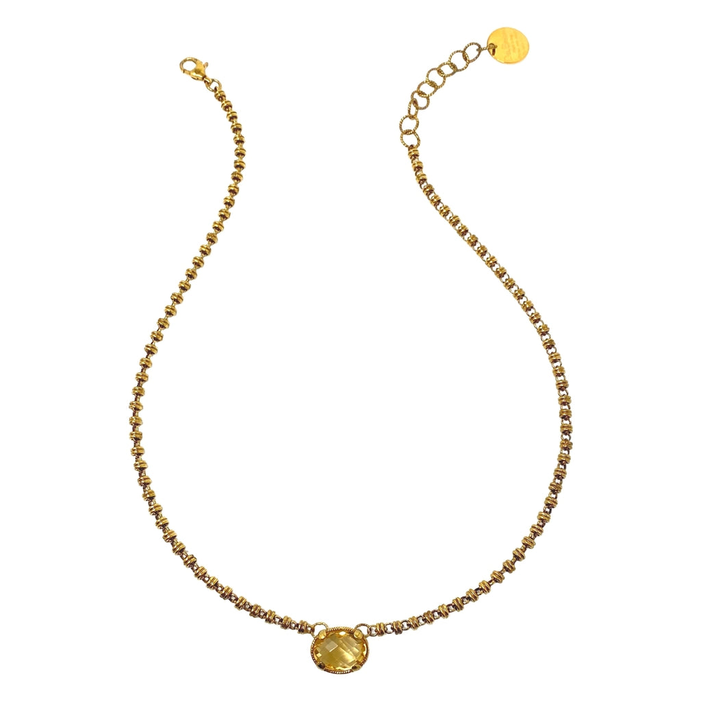 Volare Necklace Citrine Antique Gold
