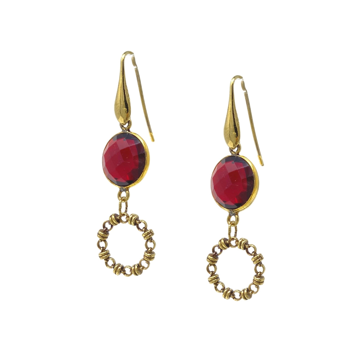 Earrings Botticelli x1 Garnet x1 Antique Gold