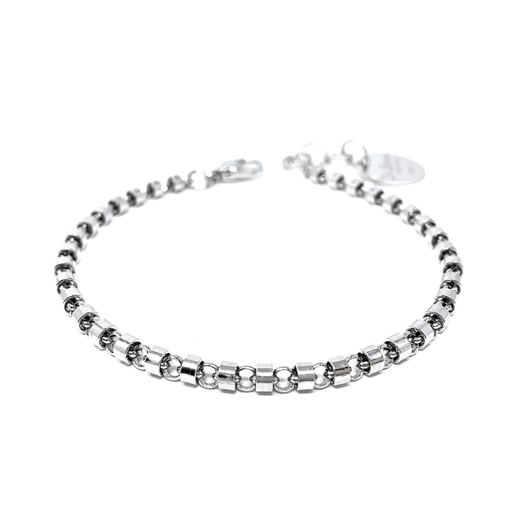Cylinders 3mm Bracelet (Rhodium)