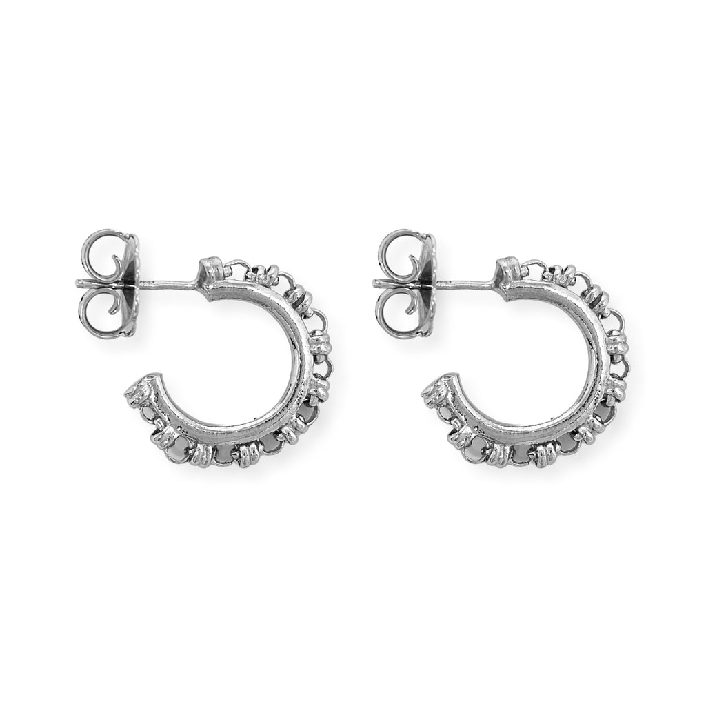 Links 3mm Hoops Earrings (Rhodium)